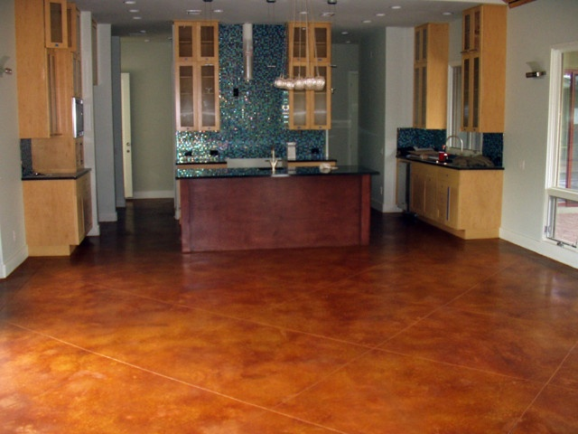 Cola stained concrete floors with scoring  Home is Where