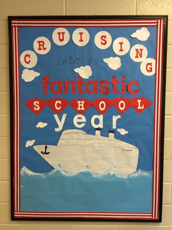Cruising bulletin board. Back to school nautical.