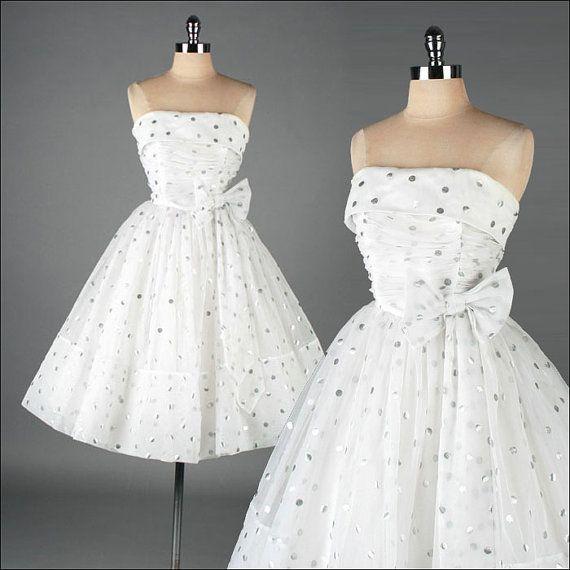Vintage 50's white chiffon dress w/silver polka dots