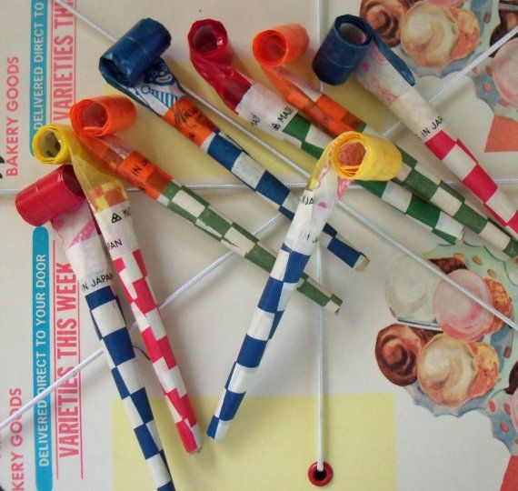 Vintage / 1950s Party Favor Blowouts / Set of by chocolateletters