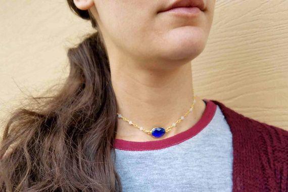 blue jasper gemstone necklace blue choker chocker by PYKNIC2