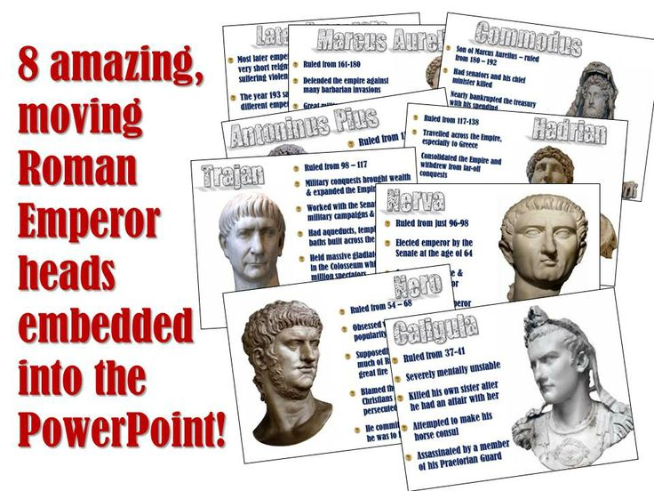 Bring the good, bad, and downright crazy Roman Emperors to life in your classroom! 8 moving, blinking, smiling Roman Emperors will look around your room and absolutely enthrall your students. Each slide includes information about the emperor as an embedded video plays to hold your students rapt attention. The slides cover the 5 Good Emperors and 3 of the worst!