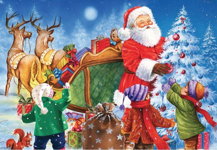 Casse-tête - La tournée du Père Noël - 35 morceaux. Dimensions : 41,9 cm x 28,9 cm. -  Age : 4 ans et plus -  Référence : 041195 #Jeux #jouets #Enfant #Cadeau #Vacances #famille #Puzzle #CasseTete