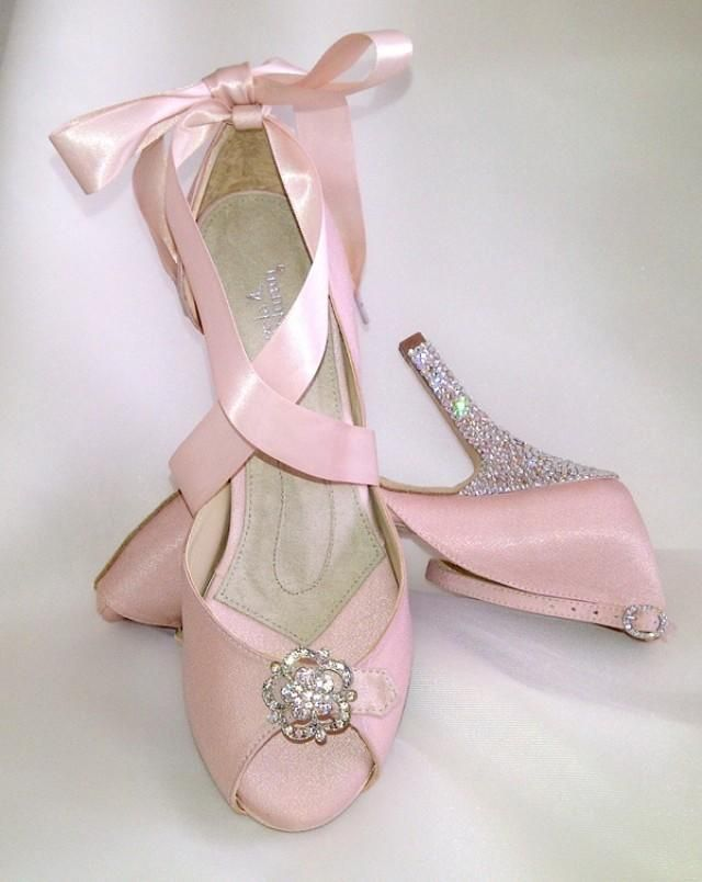 These Lovely Angela Nuran Starletta Bridal Shoes With Swarovski Crystals Hand Glitzed Heels Are Dyed A Soft Pink
