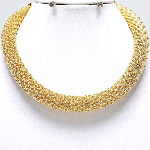 29$ Glam Chic Chunky Gold Plated Tube Choker Necklace Clear Crystal Stud Earring Set #uniklook