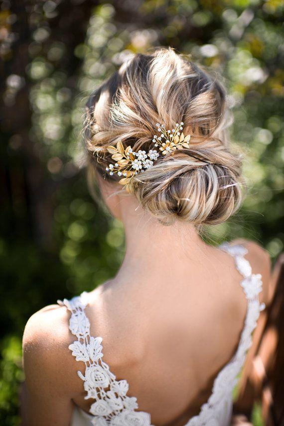 Gold Leaf Laurel Hair comb Boho Bridal hair by LottieDaDesigns