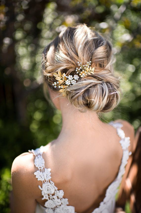 Gold Leaf Laurel Hair comb Boho Bridal hair by LottieDaDesigns