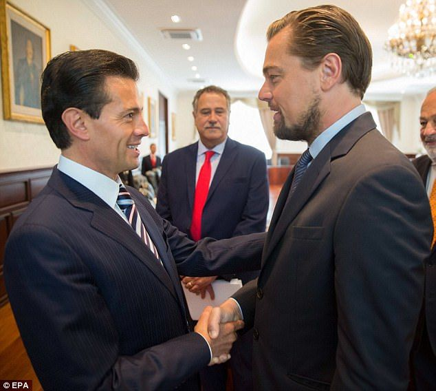 Leonaro DiCaprio and Mexican president Enrique Pena Nieto (both pictured shaking hands) vowed on Wednesday to protect the critically endangered vaquita porpoise