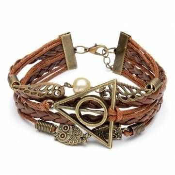 Multilayer Braided Leather Triangle Owl Wings Bracelet