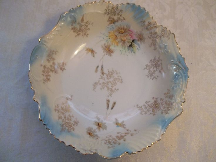 Antique Stunning Raised Scroll Gold Song Birds Victorian Serving Bowl Germany | eBay