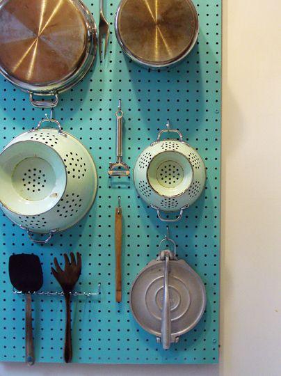 Organize by pegboard, à la Julia Child. | 27 Lifehacks For Your Tiny Kitchen