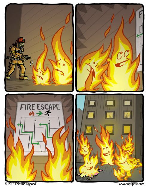 Real life fire comic strip