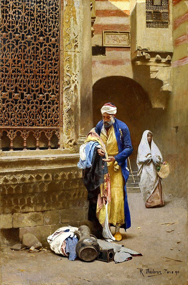 A Cairene merchant 1890 By Raphael Von Ambros - Austrian, 1855-1895 Oil on panel , 18 38 x 12¼ in