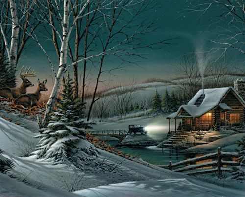 "On this peaceful winter evening, a 1930 vintage sedan with headlights ablaze has finally reached its destination. Nestled on the bluff, the deer quietly watch, both part of and apart from the whole experience. Artist: Terry Redlin: Item 527: 1000 piece jigsaw puzzle: Finished size 24"" x 30"""