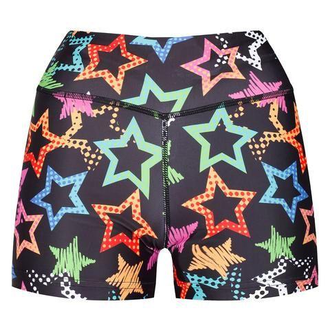 Starry Night Shorts #Activewear #Gymwear #FitnessLeggings #Leggings #Tikiboo #SpacePrint #Running #Yoga #Galaxy #GalaxyPrint