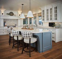 Blue Grey Kitchen Island. Gorgeous lakehouse kitchen with blue-gray kitchen island and T&G ceiling. Blue Grey Kitchen Island Paint Color. Blue Grey Kitchen Island #BlueGreyKitchenIsland Dwellings
