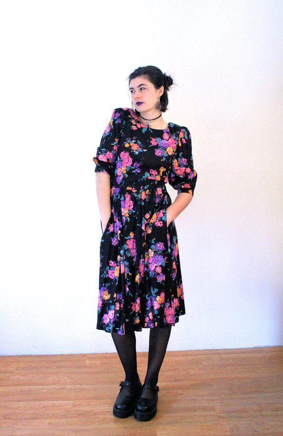 80s Lanz Floral Dress M, Vintage Flower Print Vivid Black ...