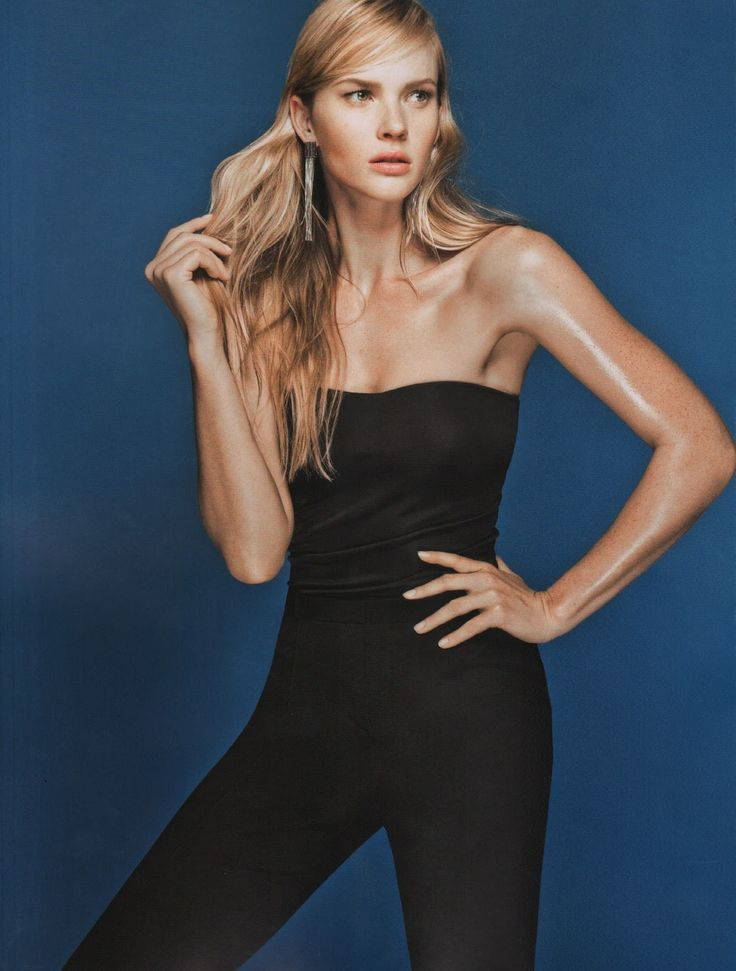 Anne Vyalitsyna in a black outfit for Harper's Bazaar Brazil