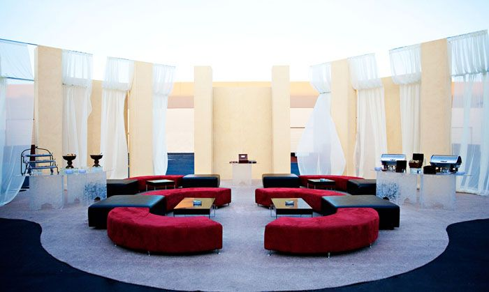 Red Suede Curved Benches Hugo Ottomans Etched Highboys  http://www.koolpartyrentals.com/product-details/Curved-Benches