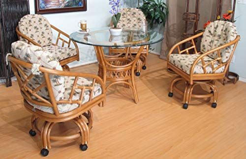 Urban Design Furnishings Honey Chiba Rattan Caster Chairs And