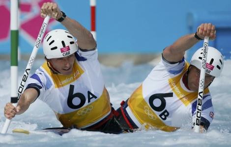 Richard Hounslow & David Florence taking silver in the slalom canoeing (Harrow Observer)