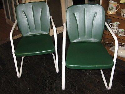 VINTAGE-MID-CENTURY-METAL-PATIO-LAWN-CHAIRS-GREEN-VGC-NOT-REPROS - $78