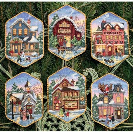 "Christmas Village Ornaments - Cross Stitch Kit $19.90 at 123Stitch.com. Complete kit includes cotton thread, 18 count Ivory Aida, felt, needle, and easy instructions. Finished Size: Approx. 5"" Long."