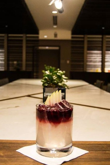 "Today's Featured Cocktail? The Purple ""Pear""adise, made with pear puree & pear brandy! #12cocktailsofchristmas"