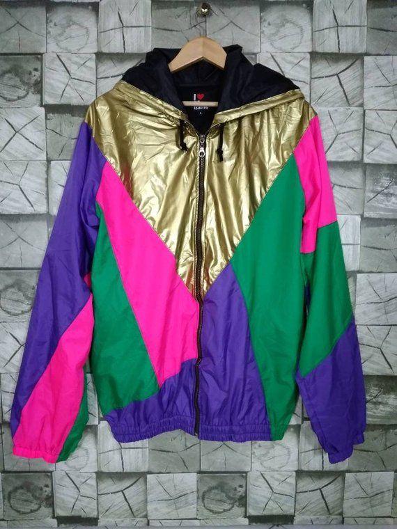 01ef5ea71 Colorblock Jacket Vintage 90s Windbreaker Multicolor No name Zipper ...