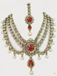 Golden Beads Three Layer Necklace Set Embellished With Shiny CZ Stones