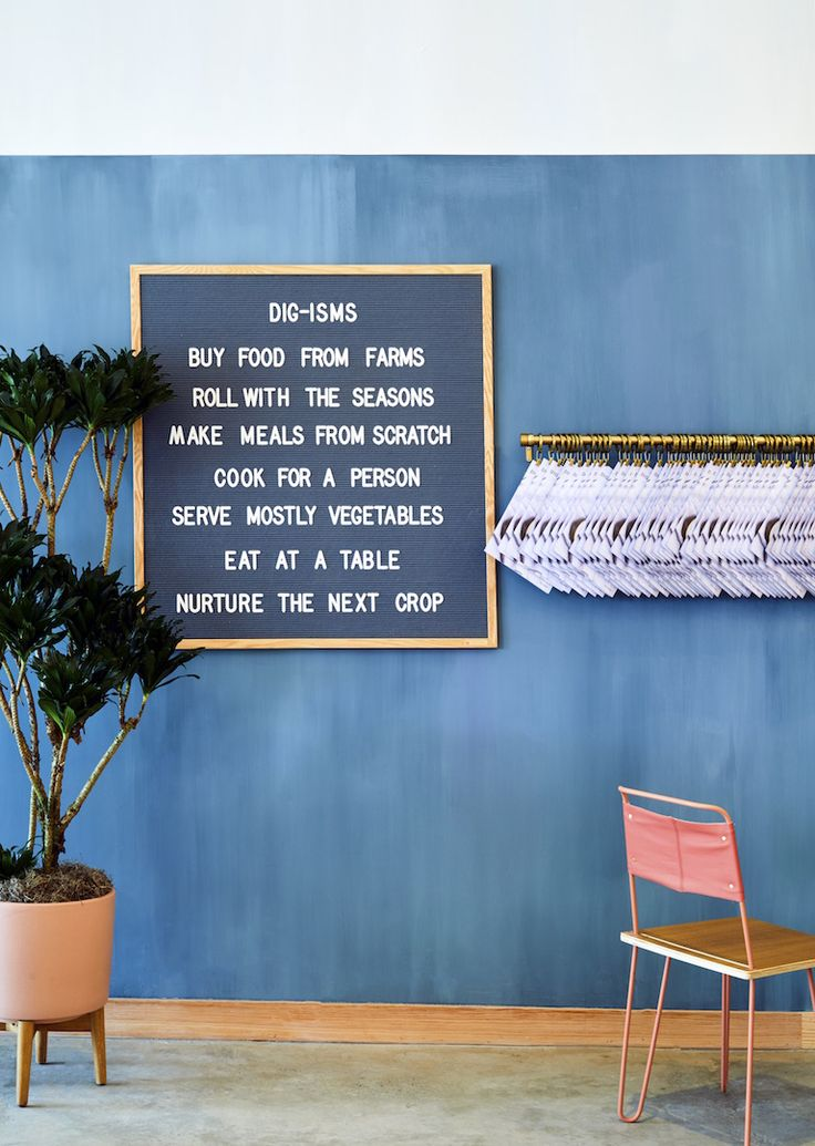 """ASH NYC's collaborates with Dig Inn in Rye Brook, NY to design a 4,200 square foot space that promotes the small-chain restaurant's """"Dig-isms."""""""