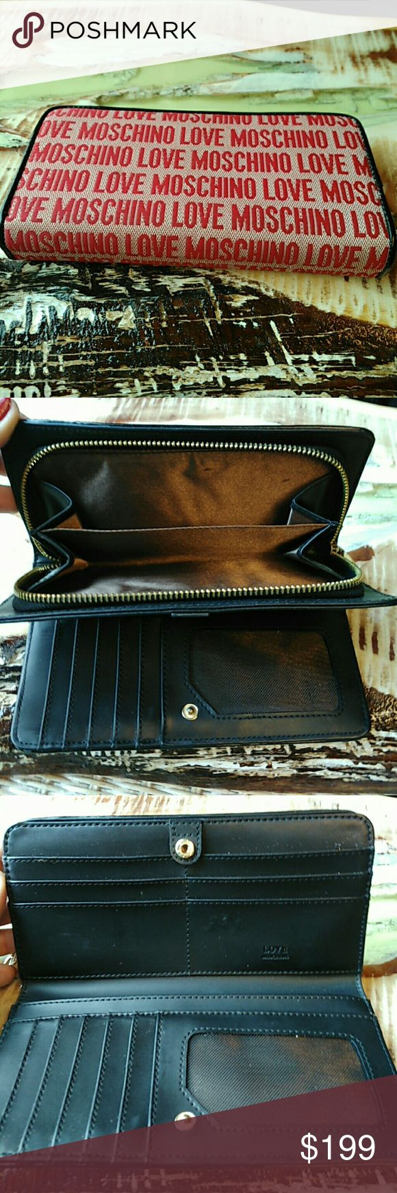 FREE SHIPPING! Moschino red wallet black signature VERY REDUCED DONT MISS!!! Moschino AUTHENTIC LIKE NEW red wallet. Two compartments. One side zips up. Perfect Holiday gift, Christmas gift, Stocking stuffer. Full size wallet.  USE BUNDLE BUTTON EVEN IF ONLY BUYING ONE ITEM. ALL ITEMS OVER $50 ARE FREE SHIPPING.     Inv#ss626 Moschino Bags Wallets