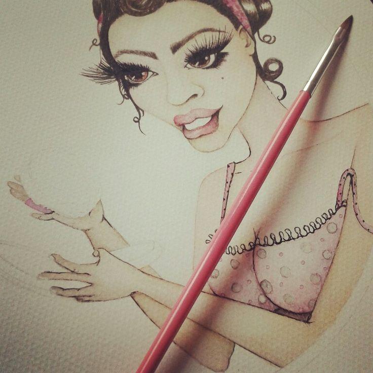 Logo, Fashion watercolor, art watercolor, pin-up art, painting watercolor art,