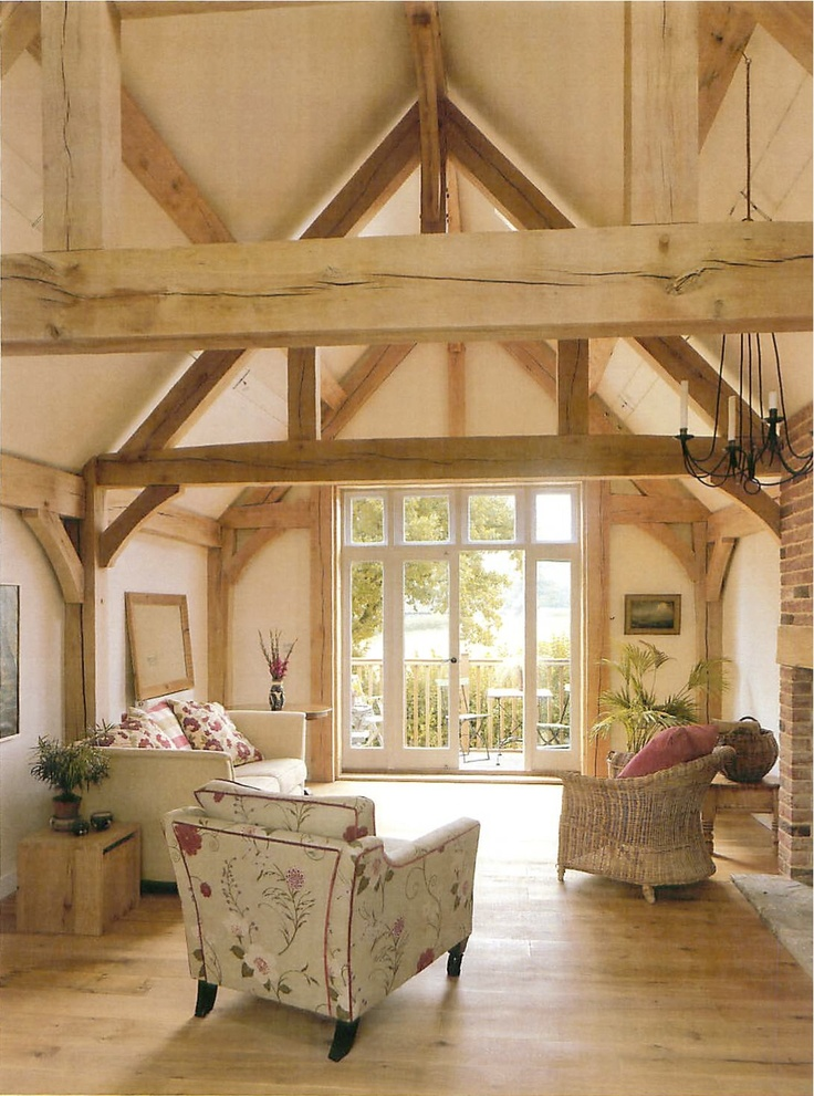 Full Frame Half Frame Border Oak Barn Interior Sitting Room With Vaulted