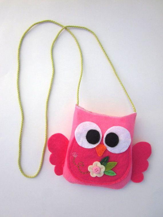 Felt Mini Owl Bag For Girls Owl Bag Mini Shoulder by ViajeraFelt, $15.00