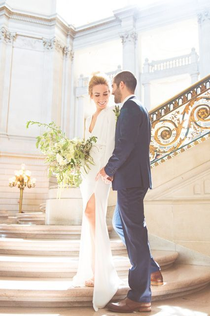 A City Hall Wedding We Can't Stop Looking At #refinery29  http://www.refinery29.com/san-francisco-city-hall-wedding#slide-2  The two newlyweds caught in the moment.