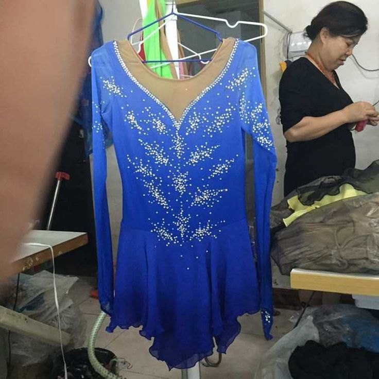 blue figure skating dresses competition womans ice skating dress customize yike #yike