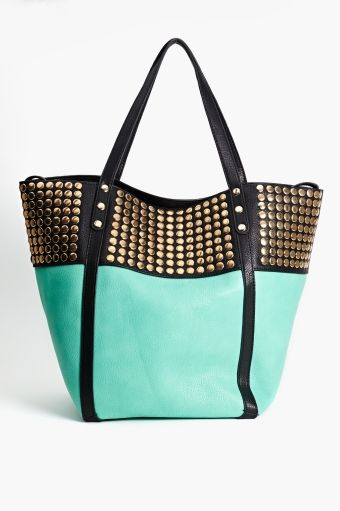 mint and black studded tote