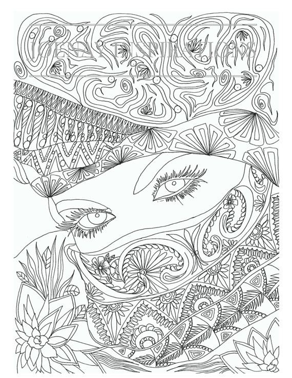 Adult Coloring Book, Printable Coloring Pages, Coloring Pages, Coloring Book for Adults, Instant Download, Faces of the World 1 page 13