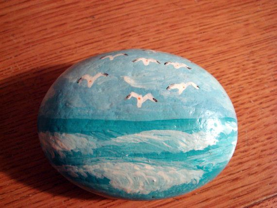 Rough Waves Ocean Scene - a hand painted stone - - number  11 via Etsy