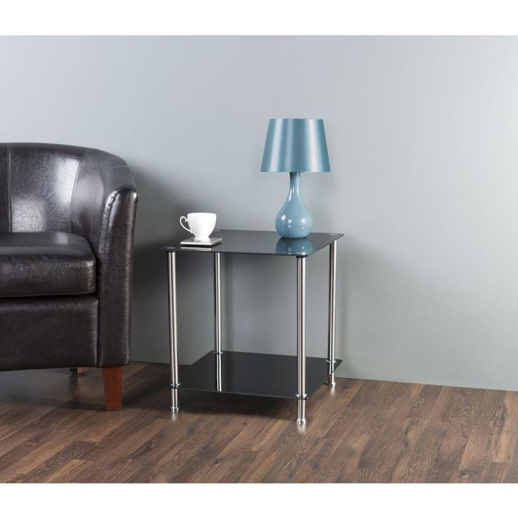 Black Glass and Chrome 2-Tier Side / Lamp / End Table ...