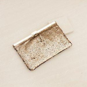 Sequined Metal Top Rectangle Clutch