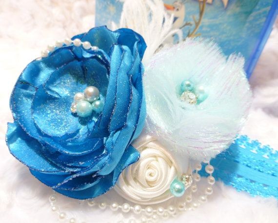 Couture Disney Frozen headband, Frozen birthday,, Snow Queen Elsa headband,Rhinestone, pearls. Photo prop, Made in USA. on Etsy, $10.00