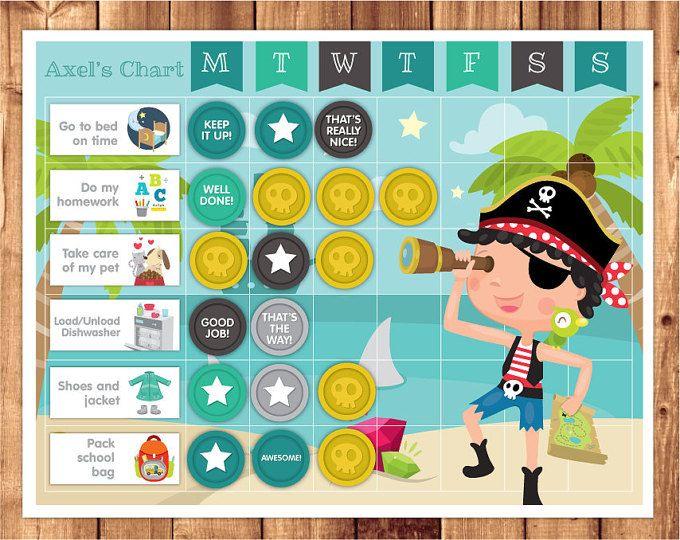 Calendario de recompensas para imprimir / Tabla de progresos / Tabla de premios / Descarga immediata con archivo PDF / Imprimir / Piratas