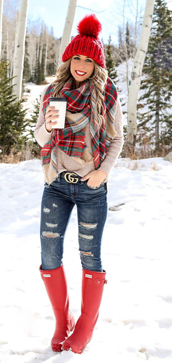 #winter #outfits brown long-sleeved top and blue distressed denim jeans