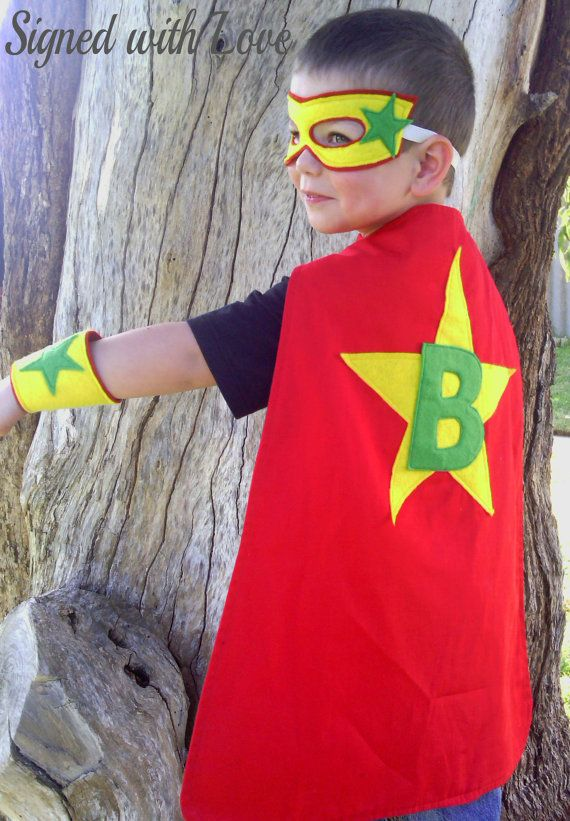 Personalised Super Kid Superhero Cape. This listing is for a cape only, you will not receive the cuffs/mask as pictured, if you would like full