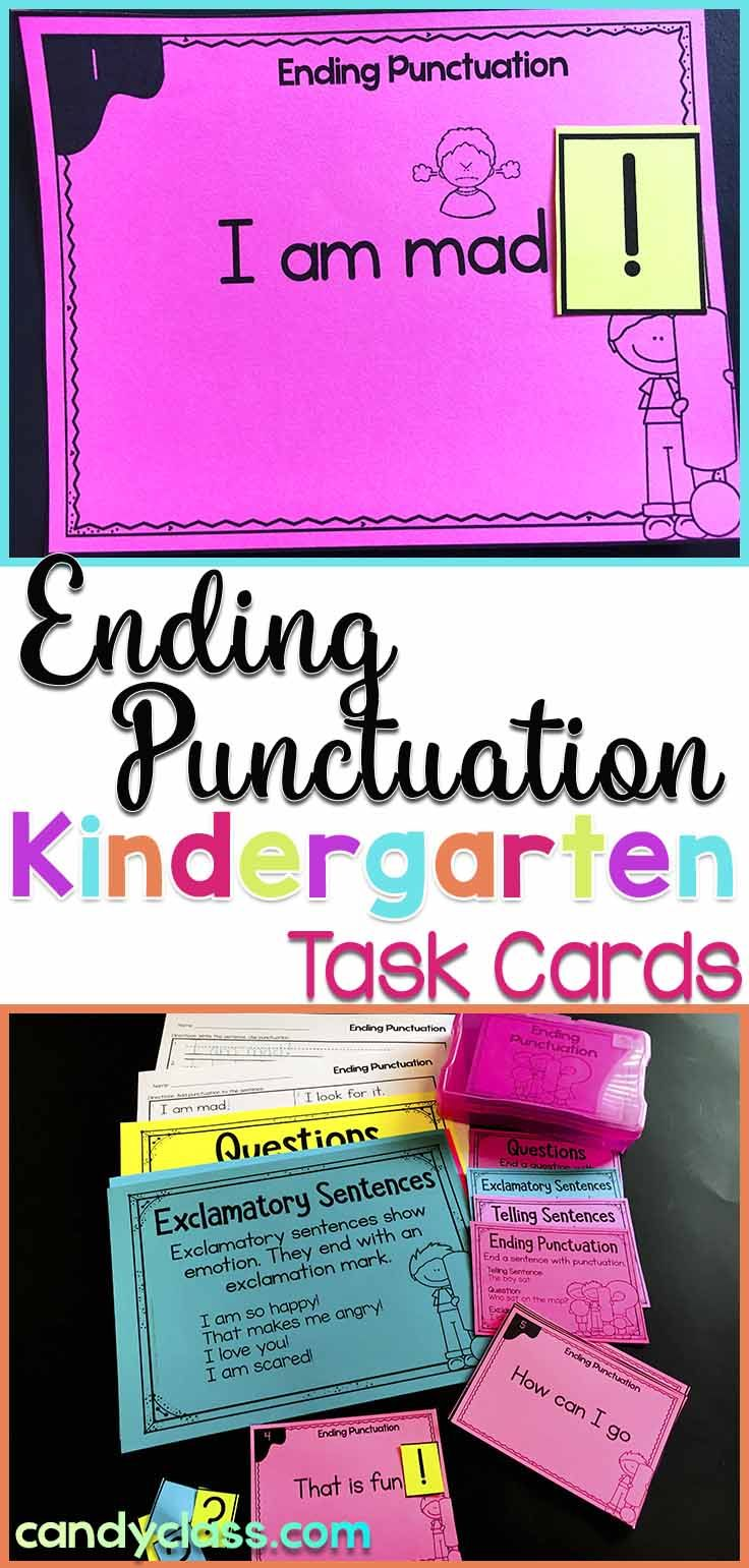 Ending punctuation task cards for kindergarten with anchor charts games