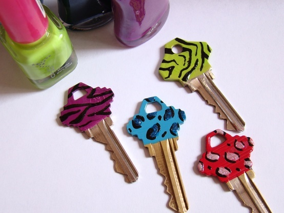 Nail polish key decoration! Made them this morning! This is fabulous!