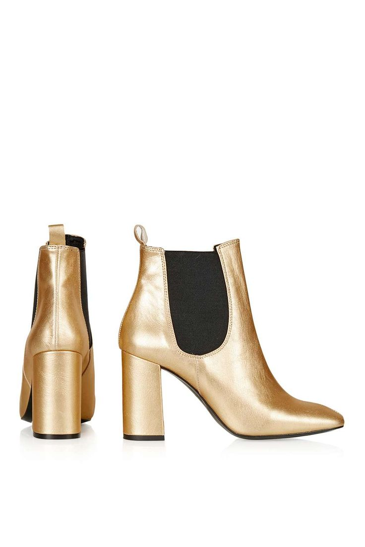Maria Flared Chelsea Boots in Gold (TopShop)