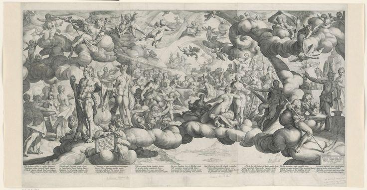 Hendrick Goltzius | Bruiloft van Cupido en Psyche, Hendrick Goltzius, 1587 | De viering van het huwelijk tussen Cupido en Psyche door een grote menigte goden en godinnen temidden van wolkenstrengen. Onder de voorstelling negen maal vier regels Latijnse tekst.